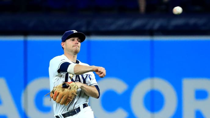 ST PETERSBURG, FLORIDA - JUNE 28: Brandon Lowe #8 of the Tampa Bay Rays makes a throw to first in the eighth inning during a game against the Texas Rangers at Tropicana Field on June 28, 2019 in St Petersburg, Florida. (Photo by Mike Ehrmann/Getty Images)