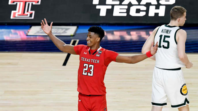 MINNEAPOLIS, MINNESOTA - APRIL 06: Jarrett Culver #23 of the Texas Tech Red Raiders reacts in the second half against the Michigan State Spartans during the 2019 NCAA Final Four semifinal at U.S. Bank Stadium on April 6, 2019 in Minneapolis, Minnesota. (Photo by Hannah Foslien/Getty Images)