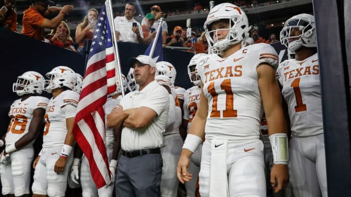 HOUSTON, TX - SEPTEMBER 14:  Head coach Tom Herman of the Texas Longhorns  prepares to lead the team onto the field before the game against the Rice Owls at NRG Stadium on September 14, 2019 in Houston, Texas.  (Photo by Tim Warner/Getty Images)