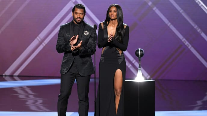 LOS ANGELES, CALIFORNIA - JULY 10: (L-R) Russell Wilson and Ciara speak onstage during The 2019 ESPYs at Microsoft Theater on July 10, 2019 in Los Angeles, California. (Photo by Kevin Winter/Getty Images)