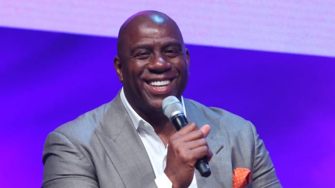 LOS ANGELES, CA - OCTOBER 27:  Magic Johnson Enterprises Chairman and CEO Magic Johnson speaks onstage at the SUPERCHARGED Summit By Kwanza Jones At NeueHouse Hollywood on October 27, 2018 in Los Angeles, California.  (Photo by Jesse Grant/Getty Images for SUPERCHARGED)