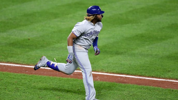 BALTIMORE, MARYLAND - SEPTEMBER 19: Vladimir Guerrero Jr. #27 of the Toronto Blue Jays follows his fourth inning fly out against the Baltimore Orioles at Oriole Park at Camden Yards on September 19, 2019 in Baltimore, Maryland. (Photo by Rob Carr/Getty Images)