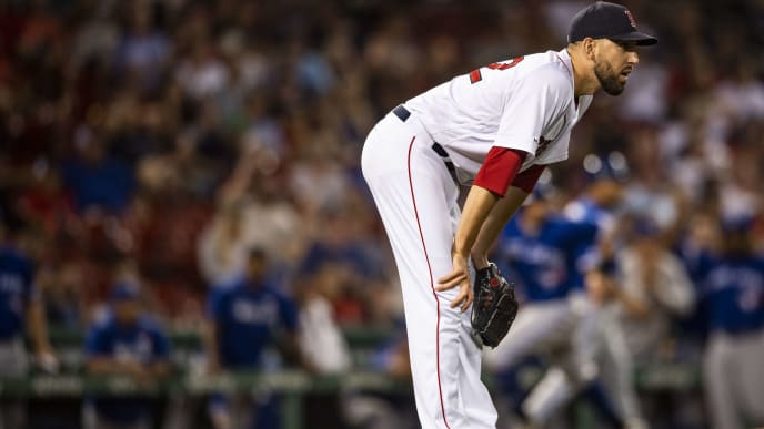 BOSTON, MA - JULY 15: Matt Barnes #32 of the Boston Red Sox reacts during the eighth inning of a game against the Toronto Blue Jays on July 15, 2019 at Fenway Park in Boston, Massachusetts. (Photo by Billie Weiss/Boston Red Sox/Getty Images)