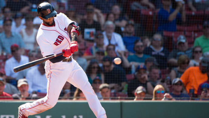 BOSTON, MA - JUNE 23: Eduardo Nunez #36 of the Boston Red Sox hits a double in the ninth inning against the Toronto Blue Jays at Fenway Park on June 23, 2019 in Boston, Massachusetts. (Photo by Kathryn Riley/Getty Images)