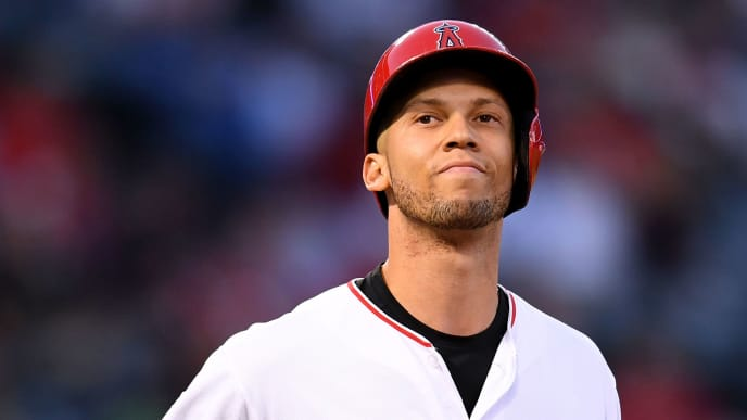 ANAHEIM, CALIFORNIA - MAY 02:  Andrelton Simmons #2 of the Los Angeles Angels reacts to his groundout during the game against the Toronto Blue Jays at Angel Stadium of Anaheim on May 02, 2019 in Anaheim, California. (Photo by Harry How/Getty Images)