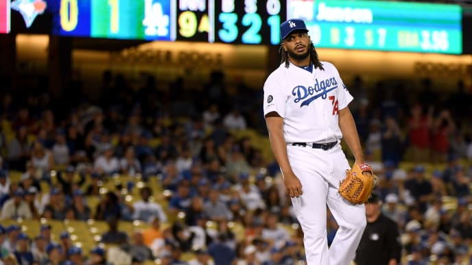LOS ANGELES, CALIFORNIA - AUGUST 21:  Kenley Jansen #74 of the Los Angeles Dodgers reacts after giving up  a solo homerun to Rowdy Tellez #44 of the Toronto Blue Jays, to tie the game 1-1, during the ninth inning at Dodger Stadium on August 21, 2019 in Los Angeles, California. (Photo by Harry How/Getty Images)