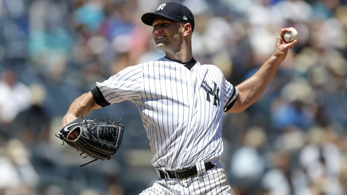 NEW YORK, NEW YORK - JULY 13:   J.A. Happ #34 of the New York Yankees pitches during the first inning against the Toronto Blue Jays at Yankee Stadium on July 13, 2019 in New York City. (Photo by Jim McIsaac/Getty Images)