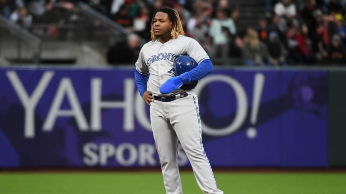 SAN FRANCISCO, CALIFORNIA - MAY 14: Vladimir Guerrero Jr. #27 of the Toronto Blue Jays stands on second base during the second inning of their MLB game against the San Francisco Giants at Oracle Park on May 14, 2019 in San Francisco, California. (Photo by Robert Reiners/Getty Images)