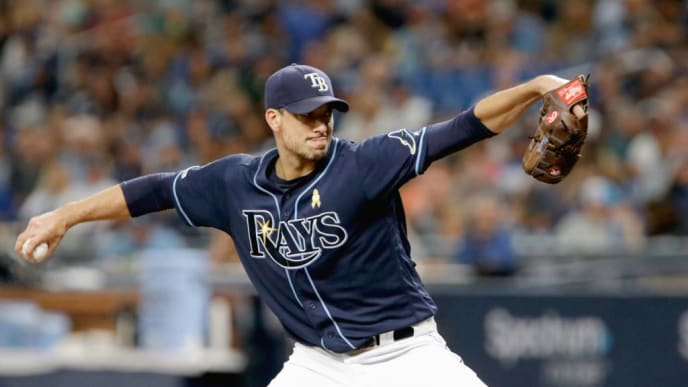 ST. PETERSBURG, FL - SEPTEMBER 7 : Charlie Morton #50 of the Tampa Bay Rays delivers a pitch during the top of the second inning of their game against the Toronto Blue Jays at Tropicana Field on September 7, 2019 in St. Petersburg, Florida. (Photo by Joseph Garnett Jr. /Getty Images)