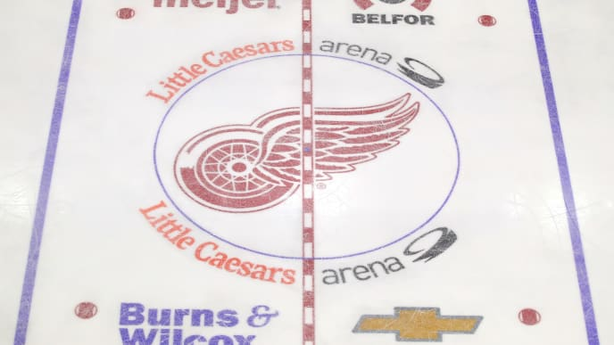 DETROIT, MICHIGAN - FEBRUARY 01:  View of the Detroit Red Wings center ice logo during a game against the Toronto Maple Leafs at Little Caesars Arena on February 01, 2019 in Detroit, Michigan. (Photo by Gregory Shamus/Getty Images)