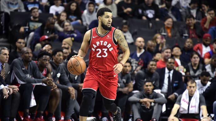 NEW YORK, NEW YORK - OCTOBER 18:  Fred VanVleet #23 of the Toronto Raptors handles the ball on offense against the Brooklyn Nets at Barclays Center on October 18, 2019 in New York, New York. (Photo by Steven Ryan/Getty Images)