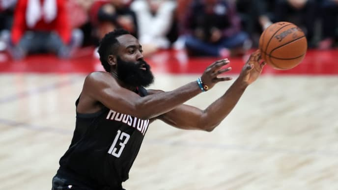 SAITAMA, JAPAN - OCTOBER 10: James Harden #13 of Houston Rockets passes the ball during the preseason game between Toronto Raptors and Houston Rockets at Saitama Super Arena on October 10, 2019 in Saitama, Japan. (Photo by Takashi Aoyama/Getty Images)