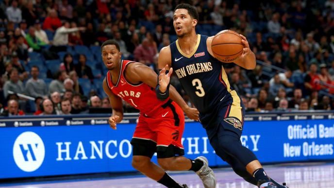 NEW ORLEANS, LOUISIANA - NOVEMBER 08: Josh Hart #3 of the New Orleans Pelicans is defended by Kyle Lowry #7 of the Toronto Raptors  during a NBA game at the Smoothie King Center on November 08, 2019 in New Orleans, Louisiana. NOTE TO USER: User expressly acknowledges and agrees that, by downloading and or using this photograph, User is consenting to the terms and conditions of the Getty Images License Agreement.  (Photo by Sean Gardner/Getty Images)