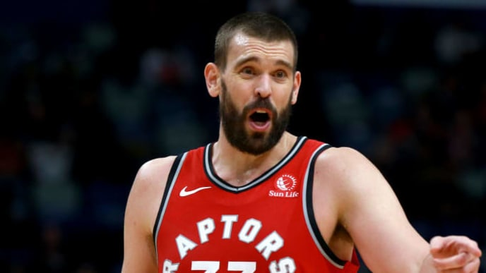 NEW ORLEANS, LOUISIANA - NOVEMBER 08: Marc Gasol #33 of the Toronto Raptors in action during a NBA game against the New Orleans Pelicans at the Smoothie King Center on November 08, 2019 in New Orleans, Louisiana. NOTE TO USER: User expressly acknowledges and agrees that, by downloading and or using this photograph, User is consenting to the terms and conditions of the Getty Images License Agreement.  (Photo by Sean Gardner/Getty Images)