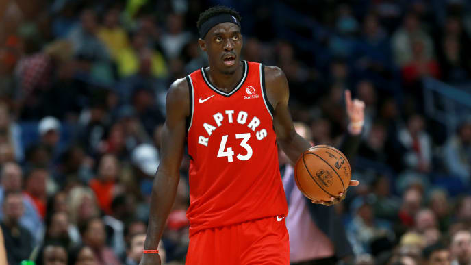 NEW ORLEANS, LOUISIANA - NOVEMBER 08: Pascal Siakam #43 of the Toronto Raptors in action during a NBA game against the New Orleans Pelicans at the Smoothie King Center on November 08, 2019 in New Orleans, Louisiana. NOTE TO USER: User expressly acknowledges and agrees that, by downloading and or using this photograph, User is consenting to the terms and conditions of the Getty Images License Agreement.  (Photo by Sean Gardner/Getty Images)