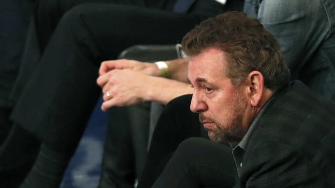 NEW YORK, NY - MARCH 28:  New York Knicks owner James Dolan reacts as he watches an NBA basketball game against the Toronto Raptors from his front row seat on March 28, 2019 at Madison Square Garden Center in New York City. Raptors won 117-92. NOTE TO USER: User expressly acknowledges and agrees that, by downloading and/or using this Photograph, user is consenting to the terms and conditions of the Getty License agreement. Mandatory Copyright Notice (Photo by Paul Bereswill/Getty Images)