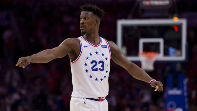 PHILADELPHIA, PA - MAY 09: Jimmy Butler #23 of the Philadelphia 76ers points against the Toronto Raptors in Game Six of the Eastern Conference Semifinals at the Wells Fargo Center on May 9, 2019 in Philadelphia, Pennsylvania. The 76ers defeated the Raptors 112-101. NOTE TO USER: User expressly acknowledges and agrees that, by downloading and or using this photograph, User is consenting to the terms and conditions of the Getty Images License Agreement. (Photo by Mitchell Leff/Getty Images)