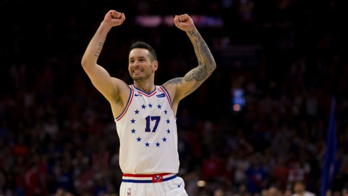 PHILADELPHIA, PA - MAY 09: JJ Redick #17 of the Philadelphia 76ers reacts against the Toronto Raptors in the third quarter of Game Six of the Eastern Conference Semifinals at the Wells Fargo Center on May 9, 2019 in Philadelphia, Pennsylvania. The 76ers defeated the Raptors 112-101. NOTE TO USER: User expressly acknowledges and agrees that, by downloading and or using this photograph, User is consenting to the terms and conditions of the Getty Images License Agreement. (Photo by Mitchell Leff/Getty Images)