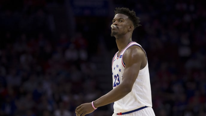 PHILADELPHIA, PA - MAY 09: Jimmy Butler #23 of the Philadelphia 76ers looks on against the Toronto Raptors in Game Six of the Eastern Conference Semifinals at the Wells Fargo Center on May 9, 2019 in Philadelphia, Pennsylvania. The 76ers defeated the Raptors 112-101. NOTE TO USER: User expressly acknowledges and agrees that, by downloading and or using this photograph, User is consenting to the terms and conditions of the Getty Images License Agreement. (Photo by Mitchell Leff/Getty Images)