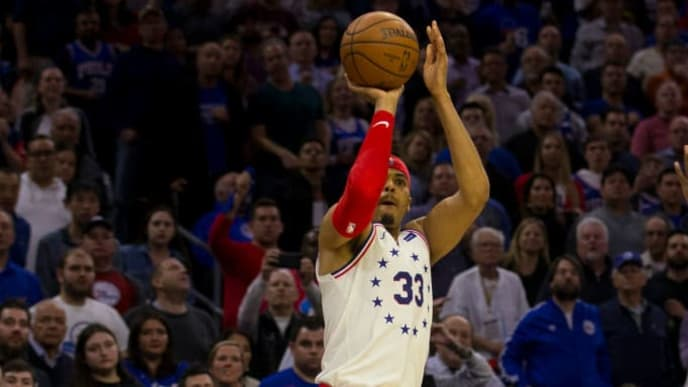 PHILADELPHIA, PA - MAY 09: Tobias Harris #33 of the Philadelphia 76ers shoots the ball against the Toronto Raptors in Game Six of the Eastern Conference Semifinals at the Wells Fargo Center on May 9, 2019 in Philadelphia, Pennsylvania. The 76ers defeated the Raptors 112-101. NOTE TO USER: User expressly acknowledges and agrees that, by downloading and or using this photograph, User is consenting to the terms and conditions of the Getty Images License Agreement. (Photo by Mitchell Leff/Getty Images)
