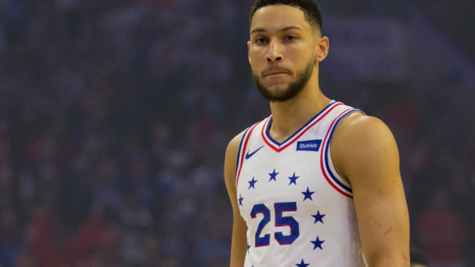 PHILADELPHIA, PA - MAY 09: Ben Simmons #25 of the Philadelphia 76ers looks on against the Toronto Raptors in Game Six of the Eastern Conference Semifinals at the Wells Fargo Center on May 9, 2019 in Philadelphia, Pennsylvania. The 76ers defeated the Raptors 112-101. NOTE TO USER: User expressly acknowledges and agrees that, by downloading and or using this photograph, User is consenting to the terms and conditions of the Getty Images License Agreement. (Photo by Mitchell Leff/Getty Images)