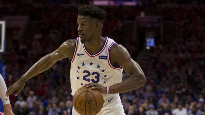 PHILADELPHIA, PA - MAY 09: Jimmy Butler #23 of the Philadelphia 76ers dribbles the ball against the Toronto Raptors in Game Six of the Eastern Conference Semifinals at the Wells Fargo Center on May 9, 2019 in Philadelphia, Pennsylvania. The 76ers defeated the Raptors 112-101. NOTE TO USER: User expressly acknowledges and agrees that, by downloading and or using this photograph, User is consenting to the terms and conditions of the Getty Images License Agreement. (Photo by Mitchell Leff/Getty Images)