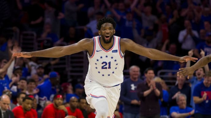 PHILADELPHIA, PA - MAY 02: Joel Embiid #21 of the Philadelphia 76ers reacts after dunking the ball against the Toronto Raptors in the fourth quarter of Game Three of the Eastern Conference Semifinals at the Wells Fargo Center on May 2, 2019 in Philadelphia, Pennsylvania. The 76ers defeated the Raptors 116-95. NOTE TO USER: User expressly acknowledges and agrees that, by downloading and or using this photograph, User is consenting to the terms and conditions of the Getty Images License Agreement. (Photo by Mitchell Leff/Getty Images)