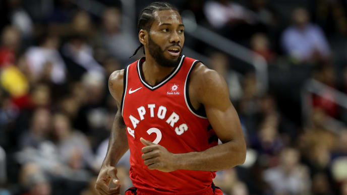 WASHINGTON, DC - JANUARY 13: Kawhi Leonard #2 of the Toronto Raptors runs down the floor in the first half against the Washington Wizards at Capital One Arena on January 13, 2019 in Washington, DC. NOTE TO USER: User expressly acknowledges and agrees that, by downloading and or using this photograph, User is consenting to the terms and conditions of the Getty Images License Agreement. (Photo by Rob Carr/Getty Images)
