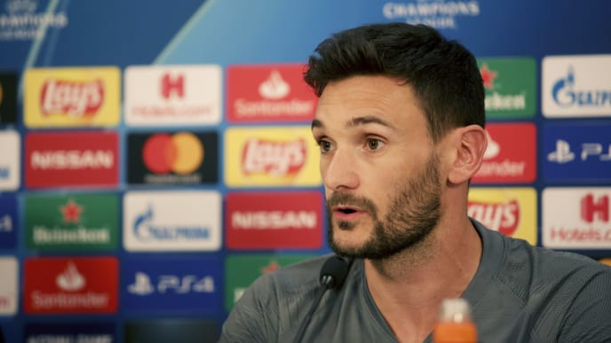 PIRAEUS, GREECE - SEPTEMBER 17: Hugo Lloris of Tottenham Hotspur speaks during a press conference on the eve the UEFA Champions League group B match between Olympiacos FC and Tottenham Hotspur at Karaiskakis Stadium on September 17, 2019 in Piraeus, Greece. (Photo by Milos Bicanski/Getty Images)