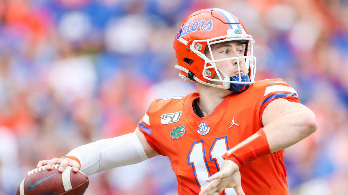 GAINESVILLE, FLORIDA - SEPTEMBER 28: Kyle Trask #11 of the Florida Gators throws a pass during the second quarter against the Towson Tigers at Ben Hill Griffin Stadium on September 28, 2019 in Gainesville, Florida. (Photo by James Gilbert/Getty Images)