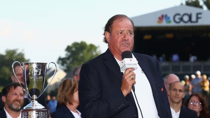 CROMWELL, CT - JUNE 25:  Broadcaster Chris Berman of ESPN speaks during the trophy presentation after Jordan Spieth of the United States (not pictured) won the Travelers Championship in a playoff against Daniel Berger of the United States (not pictured) at TPC River Highlands on June 25, 2017 in Cromwell, Connecticut.  (Photo by Tim Bradbury/Getty Images)