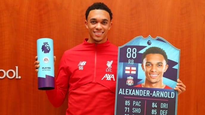 Trent Alexander-Arnold won the December POTM award in FIFA 20