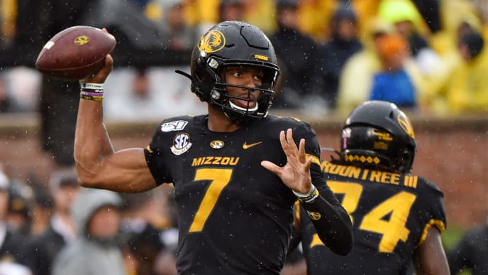 COLUMBIA, MISSOURI - OCTOBER 05: Quarterback Kelly Bryant #7 of the Missouri Tigers looks to pass against the Troy Trojans in the first quarter at Faurot Field/Memorial Stadium on October 05, 2019 in Columbia, Missouri. (Photo by Ed Zurga/Getty Images)