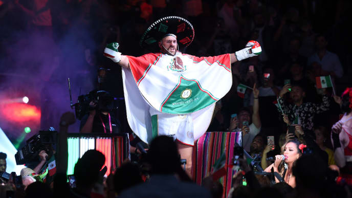 LAS VEGAS, NEVADA - SEPTEMBER 14: Tyson Fury makes his entrance to the ring for his heavyweight fight against Otto Wallin at T-Mobile Arena on September 14, 2019 in Las Vegas, Nevada. (Photo by David Becker/Getty Images)
