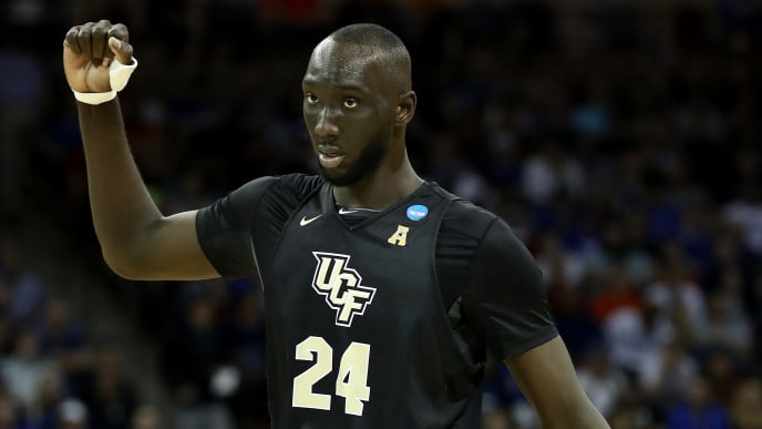 COLUMBIA, SOUTH CAROLINA - MARCH 24: Tacko Fall #24 of the UCF Knights reacts against the UCF Knights during the second half in the second round game of the 2019 NCAA Men's Basketball Tournament at Colonial Life Arena on March 24, 2019 in Columbia, South Carolina. (Photo by Streeter Lecka/Getty Images)