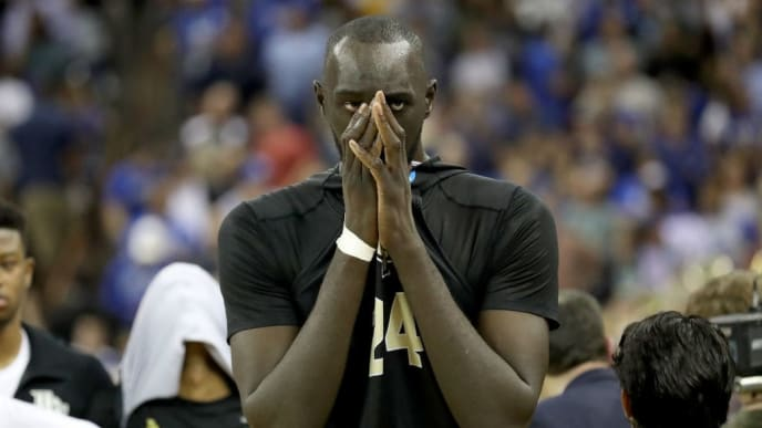 COLUMBIA, SOUTH CAROLINA - MARCH 24: Tacko Fall #24 of the UCF Knights reacts after being defeated by the Duke Blue Devils in the second round game of the 2019 NCAA Men's Basketball Tournament at Colonial Life Arena on March 24, 2019 in Columbia, South Carolina. (Photo by Streeter Lecka/Getty Images)