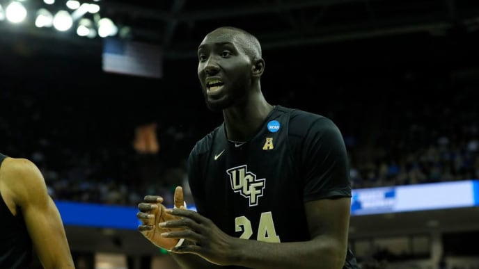 COLUMBIA, SOUTH CAROLINA - MARCH 24: Tacko Fall #24 of the UCF Knights reacts against the Duke Blue Devils during the second half in the second round game of the 2019 NCAA Men's Basketball Tournament at Colonial Life Arena on March 24, 2019 in Columbia, South Carolina. (Photo by Kevin C.  Cox/Getty Images)