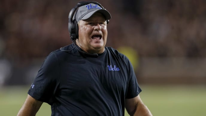 CINCINNATI, OH - AUGUST 29: Head coach Chip Kelly of the UCLA Bruins is seen during the game against the Cincinnati Bearcats at Nippert Stadium on August 29, 2019 in Cincinnati, Ohio. (Photo by Michael Hickey/Getty Images)