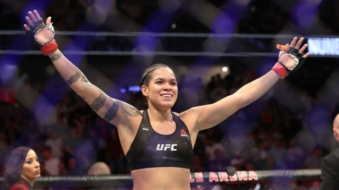 LAS VEGAS, NEVADA - JULY 06:  Amanda Nunes of Brazil reacts after defeating Holly Holm of the United States during their UFC Women's Bantamweight Title bout  at T-Mobile Arena on July 06, 2019 in Las Vegas, Nevada. (Photo by Sean M. Haffey/Getty Images)