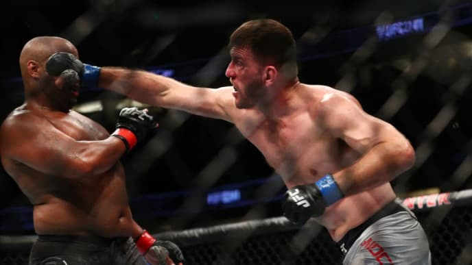 UFC heavyweight champion Stipe Miocic In action against Daniel Cormier