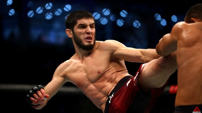 ABU DHABI, UNITED ARAB EMIRATES - SEPTEMBER 07: Islam Makhachev of Russia compete against Davi Ramos of Brazil in their Lightweight Bout during the UFC 242 event at The Arena on September 07, 2019 in Abu Dhabi, United Arab Emirates. (Photo by Francois Nel/Getty Images)