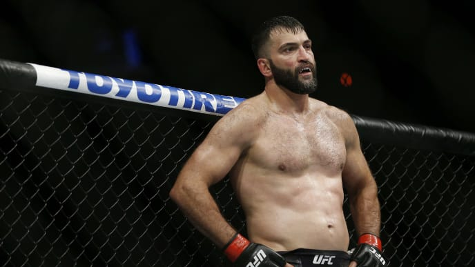 SUNRISE, FLORIDA - APRIL 27:  Andrei Arlovski of Belarus reacts during his heavyweight bout against Augusto Sakai of Brazil at UFC Fight Night at BB&T Center on April 27, 2019 in Sunrise, Florida. (Photo by Michael Reaves/Getty Images)