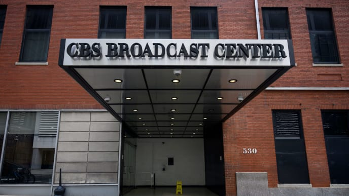 The CBS Broadcast Center is seen in New York City August 13, 2019. - CBS and Viacom announced on August 13, 2019 they have reached an agreement to combine their entertainment empires in the latest media mega-deal as broadcasters unveil more direct-to-consumer screening options. (Photo by Johannes EISELE / AFP)        (Photo credit should read JOHANNES EISELE/AFP/Getty Images)