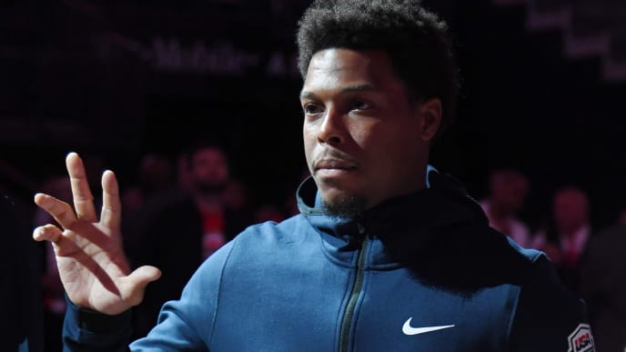 LAS VEGAS, NEVADA - AUGUST 09:  Kyle Lowry #51 of the 2019 USA Men's National Team is introduced before the 2019 USA Basketball Men's National Team Blue-White exhibition game at T-Mobile Arena on August 9, 2019 in Las Vegas, Nevada.  (Photo by Ethan Miller/Getty Images)