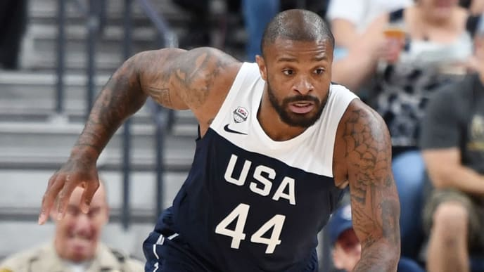 LAS VEGAS, NEVADA - AUGUST 09:  P.J. Tucker #44 of the 2019 USA Men's National Team brings the ball up the court during the 2019 USA Basketball Men's National Team Blue-White exhibition game at T-Mobile Arena on August 9, 2019 in Las Vegas, Nevada.  (Photo by Ethan Miller/Getty Images)
