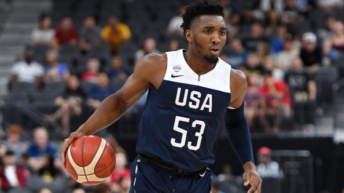 LAS VEGAS, NEVADA - AUGUST 09:  Donovan Mitchell #53 of the 2019 USA Men's National Team brings the ball up the court during the 2019 USA Basketball Men's National Team Blue-White exhibition game at T-Mobile Arena on August 9, 2019 in Las Vegas, Nevada.  (Photo by Ethan Miller/Getty Images)