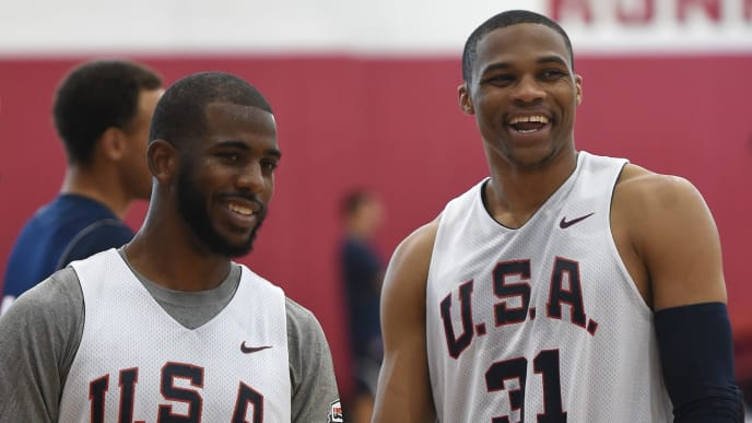 LAS VEGAS, NV - AUGUST 11:  Chris Paul #23 and Russell Westbrook #31 of the 2015 USA Basketball Men's National Team share a laugh during a practice session at the Mendenhall Center on August 11, 2015 in Las Vegas, Nevada.  (Photo by Ethan Miller/Getty Images)