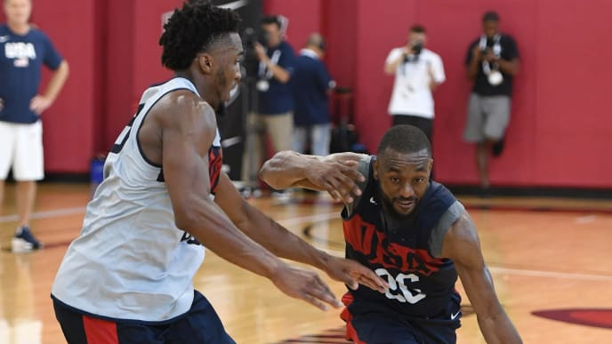 LAS VEGAS, NEVADA - AUGUST 05:  Kemba Walker #26 of the 2019 USA Men's National Team drives against Donovan Mitchell #53 of the 2019 USA Men's National Team during a practice session at the 2019 USA Basketball Men's National Team World Cup minicamp at the Mendenhall Center at UNLV on August 5, 2019 in Las Vegas, Nevada.  (Photo by Ethan Miller/Getty Images)