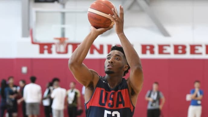 LAS VEGAS, NEVADA - AUGUST 06:  Donovan Mitchell #53 of the 2019 USA Men's National Team shoots during a practice session at the 2019 USA Basketball Men's National Team World Cup minicamp at the Mendenhall Center at UNLV on August 6, 2019 in Las Vegas, Nevada.  (Photo by Ethan Miller/Getty Images)