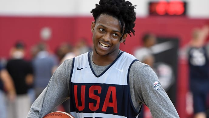 LAS VEGAS, NEVADA - AUGUST 05:  De'Aaron Fox #20 of the 2019 USA Men's Select Team attends a practice session at the 2019 USA Basketball Men's National Team World Cup minicamp at the Mendenhall Center at UNLV on August 5, 2019 in Las Vegas, Nevada.  (Photo by Ethan Miller/Getty Images)